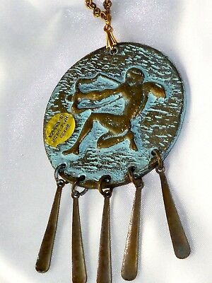 Vtg Greek Museum Bronze Archer -Portrait Pendant Ancient Necklace Nos