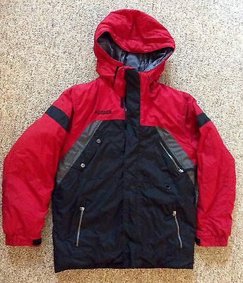 Very Warm Columbia Boys Winter Weather HeavyWeight Jacket Black Red Grey  14-16