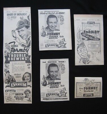 GEORGE FORMBY 1939 Original movie advertising It's In the Air Trouble Brewing
