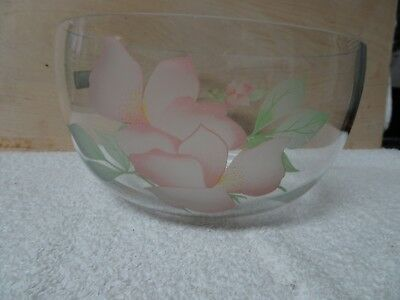 Glass Bowl Etched Rose Flower Design Made In Turkey Crystal Clear Industries