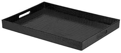 Home Basics Elegant Serving Tray With Handles Black