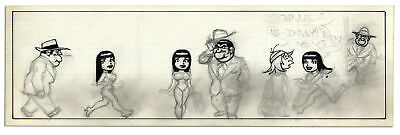Unfinished Comic Strip by Al Capp in Pencil & Black Ink