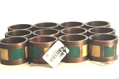 Pier 1 Napkin Rings Round Metallic Ceramic Set of 12 New