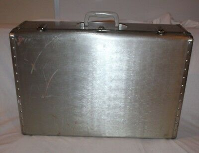 "Vintage KOWA Industry Japanese Metal Steel Steamer Trunk Suitcase 26"" x 18"" x 8"""