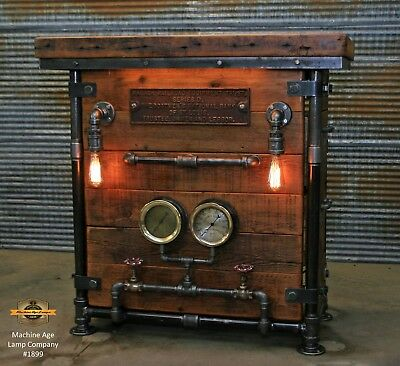 Steampunk Industrial Machine Age Lamp Steam Gauge Table Stand Bar Console Pub