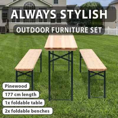 Outdoor 3pc Beer Table Bench Set Wooden Dining Chair Foldable Garden Furniture