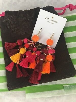 NEW Kate Spade Pretty Poms Tassel Statement Earrings Yellow & Red MSRP $98 AUTH
