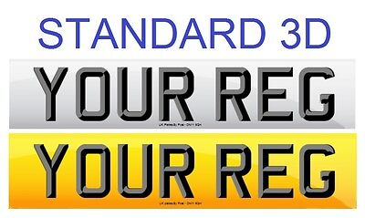 Pair Standard Number Plates STANDARD 3D LETTERS 100% MOT Compliant - FREE POST