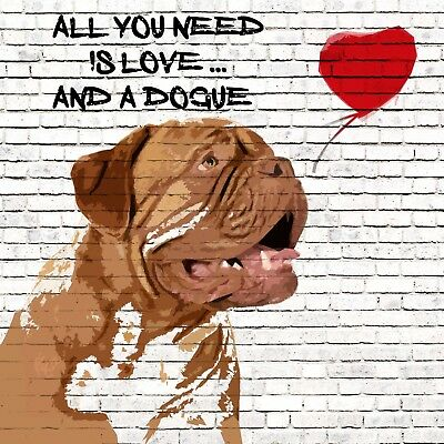 Dogue De Bordeaux Love Blank Art Greeting Card Birthday Dog Lovers Note
