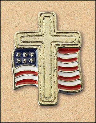 Gold Tone Cross with American Flag 7/8 Inch Lapel Pin