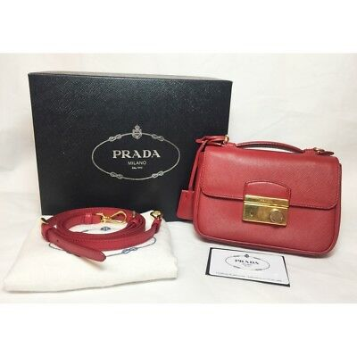 99f05b9b87 Genuine Prada Red Saffiano Handbag Crossbody Gold Hardware Purse Wallet Bag  S