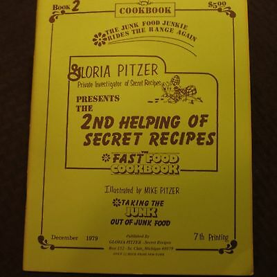 Gloria Pitzer Helping of Secrets Recipes/Fast Food Cook Book/ Book 2 Dec 1979
