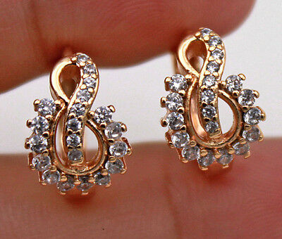 "18K Gold Filled - Hollow Swirl ""8"" Flower Topaz Zircon Gems Women Hoop Earrings"