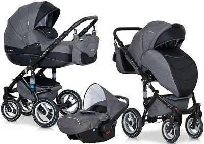 RIKO BRANO PRAM 3in1 CARRYCOT + PUSH CHAIR + CAR SEAT + EXTRAS