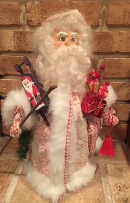 """Artist Made Santa Doll 15"""" Primitive Antique Quilt Robe Christmas Gifts"""