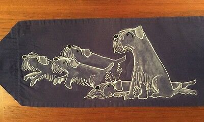 Handpainted Table Runner White Sealyham Terrier Dogs on Periwinkle Blue Canvas