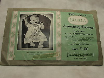 Vintage Bucilla Embroidery Package Lace Trim Baby White Christening Dress Doll