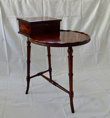 Vintage Rare Wood Accent Side Table with Lidded Compartment