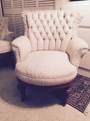 PAIR ANTIQUE CARVED WOODEN CHAIRS ROCKING & SLIPPER - OLD VICTORIAN 19th CENTURY