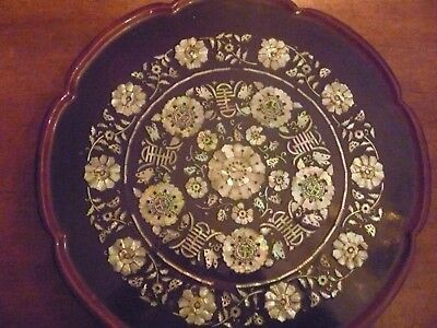 Vintage Korean Lacquered Mother Of Pearl Folding Tea Table
