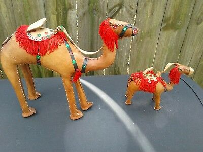 Set of Hand Made Leather Wrapped Camel Figurines with Bridle and Saddle