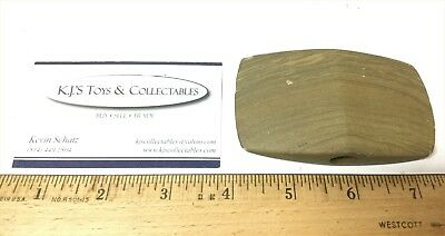Trade Tenn. 3 1/2 inch Banded Slate Tan Bannerstone Indian Artifact Ceremonial