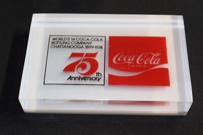 Coca-Cola Acryl Briefbeschwerer 1974 USA paperweight 75th Anniversary Chatta #15