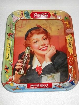 Original Coca-Cola Metall Tablett Menu Girl Have a Coke USA 1950er Jahre tray