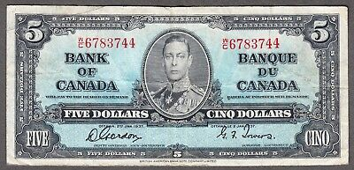 1937 Bank of Canada - $5.00 Bank Note - Very Fine - Gordon Towers W/C 6783744