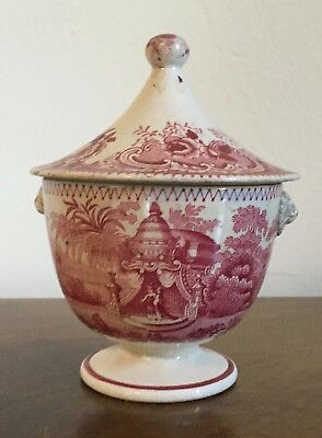 Red Purple Transferware 19th c. Staffordshire Pearlware Sugar Urn Sucrier Bowl