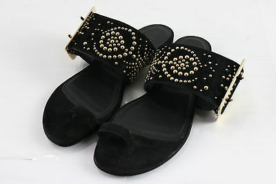 ad80675900b7 NWT  439 Burberry Gold Buckle Gold Stud Black Suede Slide Sandals Sz 37.5