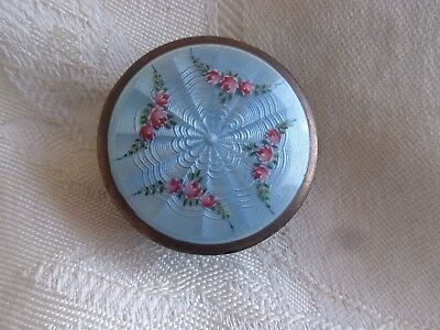 Antique Fbe Geneve Sterling Silver 935 Guilloche Enamel Rose Pill Snuff Box Swis