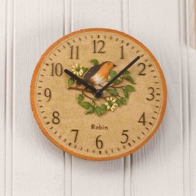 Outside In Robin Wall Clock and Thermometer 12""