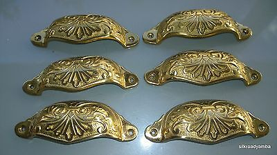 "6 cast engraved solid brass heavy shell shape pulls handle kitchen POLISH 4"" B"