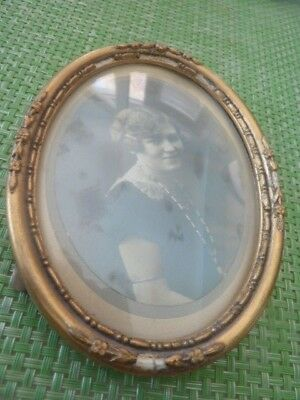 Vintage Small Oval Picture Frame With Convex Glass And Old Picture