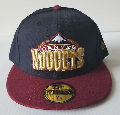 pretty nice 9c03a 53df3 New Era Denver Nuggets 59Fifty Navy   Maroon Flat Bill 5950 Cap NBA Hat 7 1