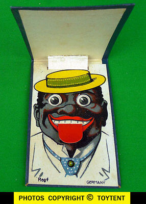Black Americana paper novelty funny face pop-up moving eyes Germany !SEE MOVIE !