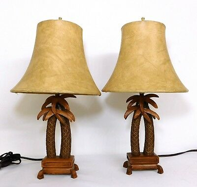 Two 16 Tropical Palm Tree Table Lamps Wood Resin Deer Skin Like Lamp Shades