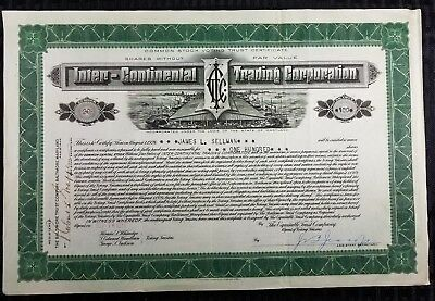 INTER-CONTINENTAL TRADING Corp - Steamship Stock Certificate - 1919 - Vignette!