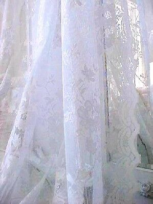 Two Drape Panels Shabby French Roses Chic White Lace Netting Window Curtain 63""
