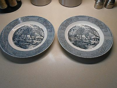 """2 Dinner Plates 10"""" Currier and Ives - The Old Grist Mill -Royal Ironstone- Blue"""