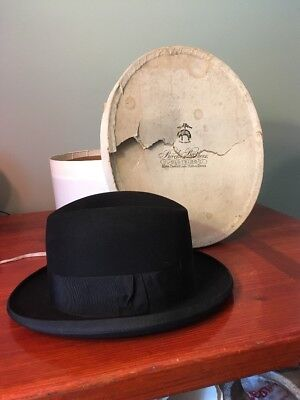 a9ebd8117750b Vintage Herbert Johnson Black Fedoraedo Hat Made in England For Brooks  Brothers
