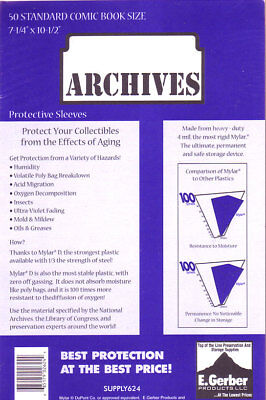 """50 STANDARD MYLAR # 725R Comic Book Sleeves 4 MIL THICK GERBER ARCHIVES 7+1/4"""""""