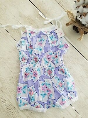 Vintage  Toddler Girls Floral Smocked  Sunsuit Romper Tie Shoulder Size 3T.