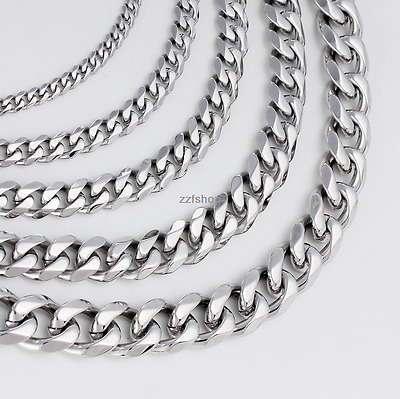 9/11/13/15mm MENS Boys Chain Silver Tone Curb Link Stainless Steel Necklace