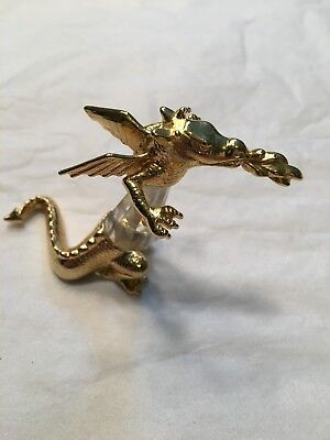 """""""manon"""" Crystal & Gold Plated Fiqurine Fire Spitting Dragon"""