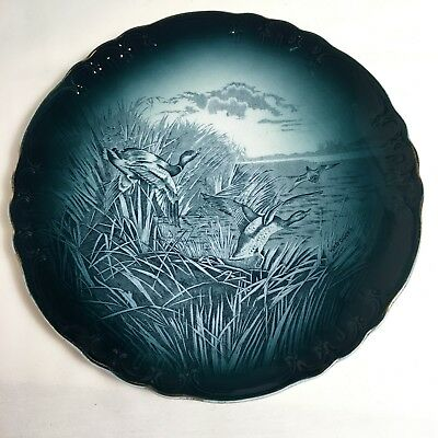 "Buffalo Pottery Semi-vitreous Wild Ducks Plate 9"" 1908"