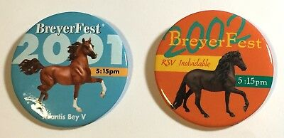 Lot of 2 Breyerfest Buttons Pins 2001 Atlantis Bey V and 2002 RSV Inolvidable
