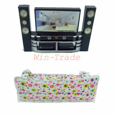 1Set Hi-Fi TV Theater Cabinet + Sofa Couch Furniture for Barbie Doll House Room