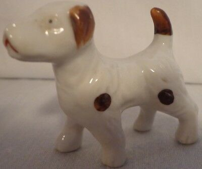 "Dog Figurine Fox Terrier Spotted Brown White Japan 2"" Glazed Ceramic Vintage"